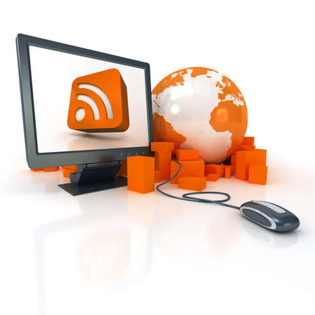 rss feed icon:  3D rendering a world map surrounded by packages connected to a computer showing in the screen the RSS symbol