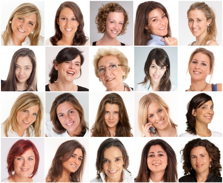 Collection of portraits of  smiling women of different ages