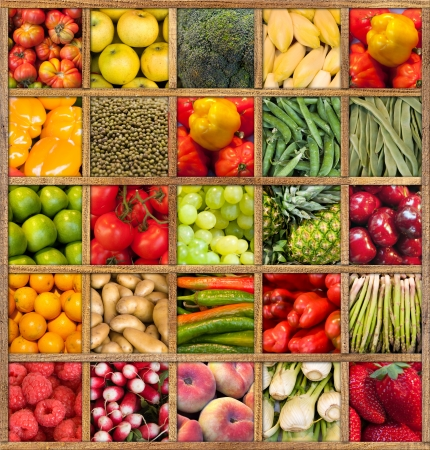 vegetarian: Composition of fruits and vegetables framed in wood Stock Photo