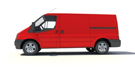 delivery van:   3D rendering of a red transportation van with no brand name   Stock Photo