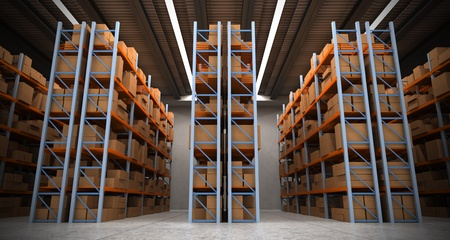 warehouse equipment: 3D rendering of a distribution warehouse with shelves, racks, boxes ideal for backgrounds