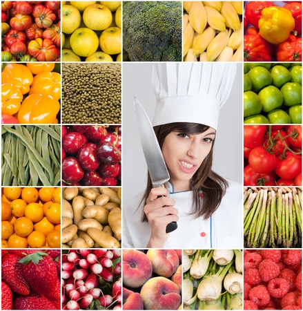 A woman with a chefs attire surrounded by images of fruits and vegetables Stock Photo - 14715308
