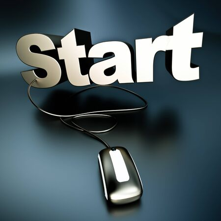 initiate:   3D rendering of the word start in silver connected to a computer mouse   Stock Photo