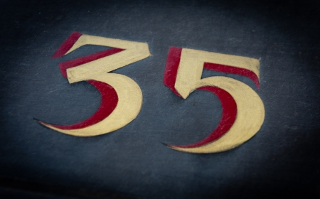 thirty five: Painted number thirty five