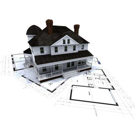 3D rendering of a colonial style residence on top of blueprints photo