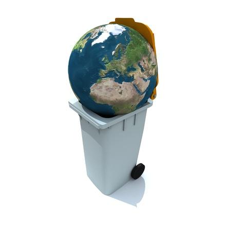 The Earth thrown to a rubbish bin photo