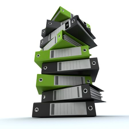 filing system: 3D rendering of a pile of office ring binders
