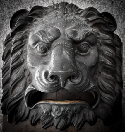 Mail box in the shape of a lion�s head in Madrid central Post Office photo