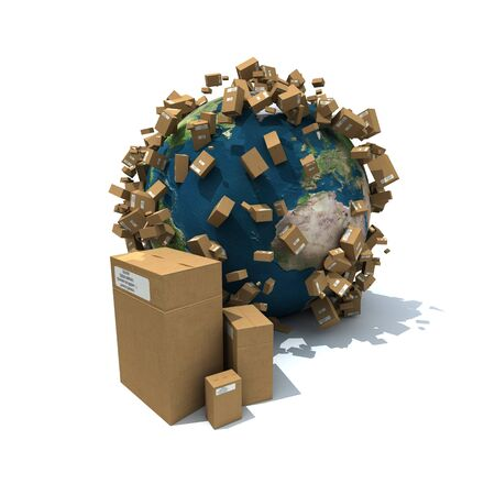 everywhere: Cardboard boxes and falling parcels on the Earth Stock Photo