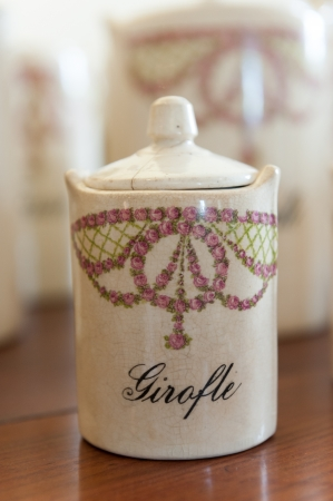 ceramic bottle: Antique spice jar for clove, in French girofle