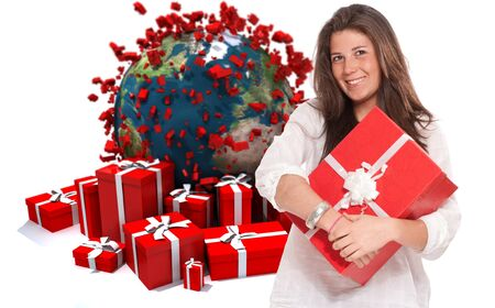 everywhere:  Young brunette holding a present against a background of gift boxes and the Earth