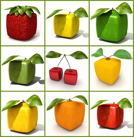 manipulated   alter: 3D rendering of a selection of cubic fruits Stock Photo