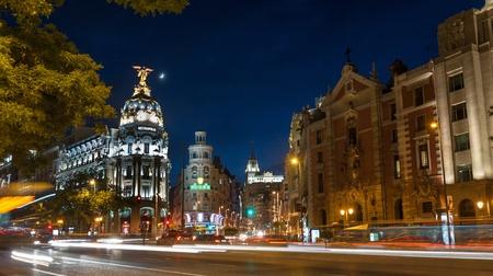 madrid  spain: Night shot of one of Madrid best views