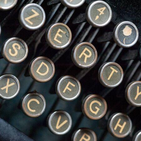 old writing: Close up shot on vintage typewriting machine keys Stock Photo