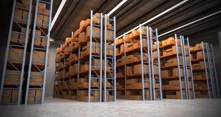 3D rendering of a distribution warehouse with shelves, racks, boxes ideal for backgrounds Stock Photo - 15427209
