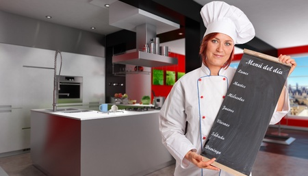 countertop:  Woman with chef attire holding a blackboard with weekly menu in a modern domestic kitchen