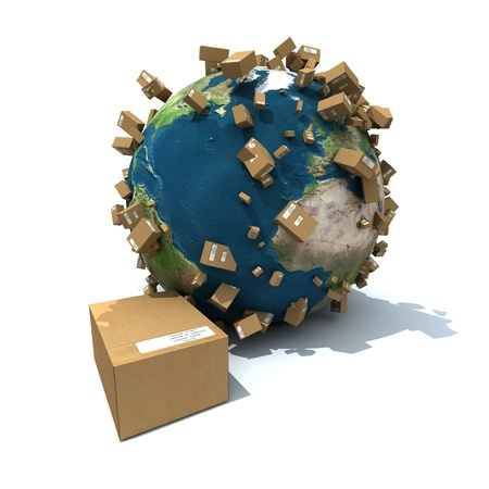 earth moving: Cardboard boxes and falling parcels on the Earth Stock Photo