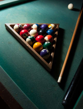 Billiard game with balls in the triangle photo