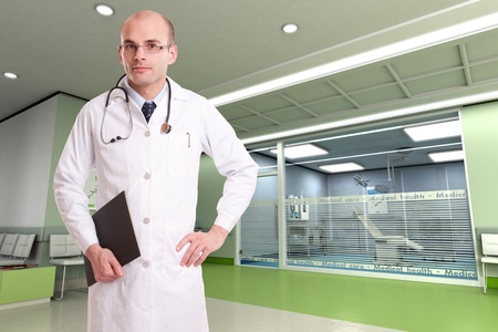 Doctor with stethoscope, and a folder in a hospital interior  photo
