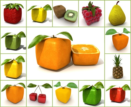 apple gmo: 3D rendering of a selection of cubic fruits Stock Photo