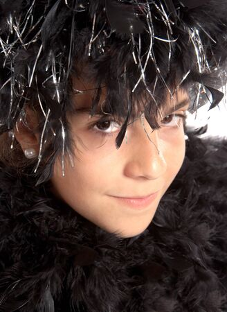 black boa: Teenager costumed with a black feather boa for a party