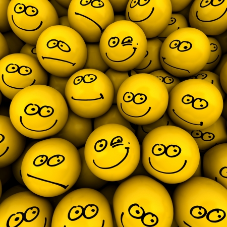 Yellow icons with different facial expressions  photo