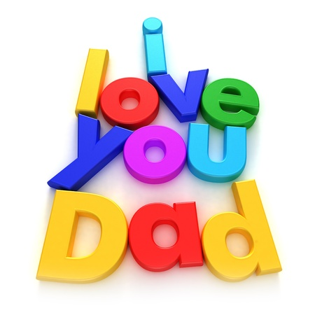 declaration of love:  I love you Dad written with colourful letter magnets on neutral background  Stock Photo