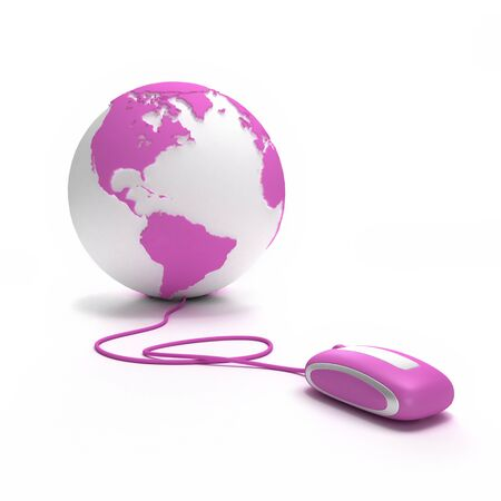 Pink and white Earth Globe oriented to America connected with a computer mouse  photo