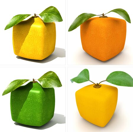 cubic: 3D rendering of a selection of cubic fruits Stock Photo