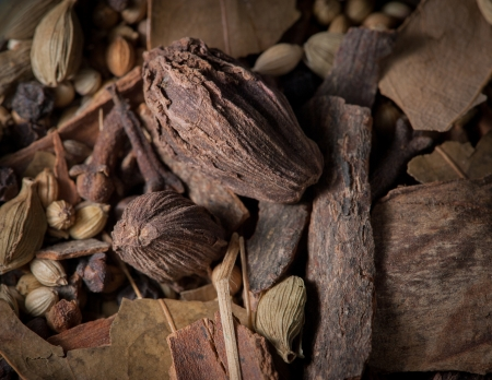macroshot: Macro-shot on garam masala unground spice mix