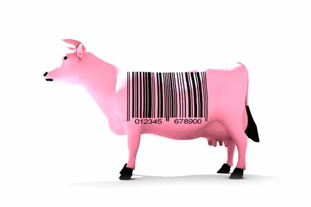 traceability:  3D rendering of a cow with a bar code  Stock Photo