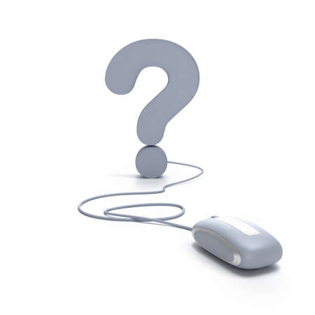 when:  3D rendering of a question mark connected to a computer mouse  Stock Photo