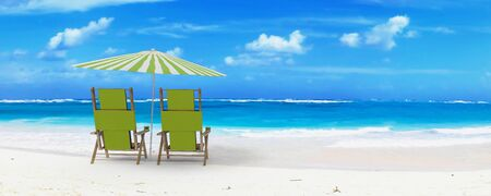 reclining:  Beautiful beach with sunshade and a pair of reclining chairs with drinks