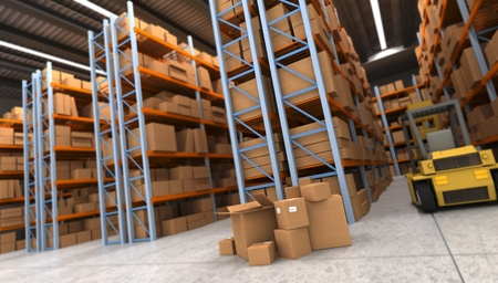 lifter: 3D rendering of a distribution warehouse with shelves, racks, boxes, and forklift Stock Photo