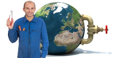 stopcock:   Image of a handyman with the Earth with a stopcock attached to it