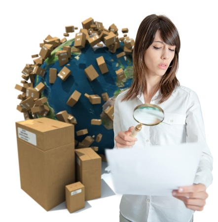 suspicious: Young woman in a transportation background analyzing a document  Stock Photo