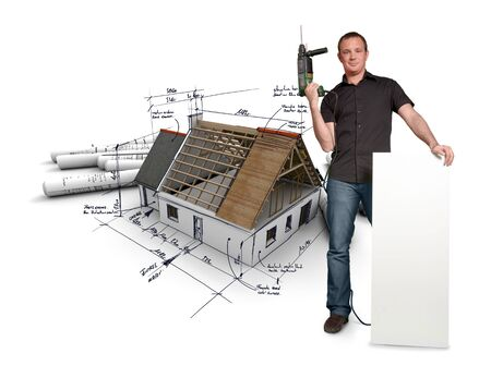 power drill: Man with holding a power drill with a house with blueprints on the background
