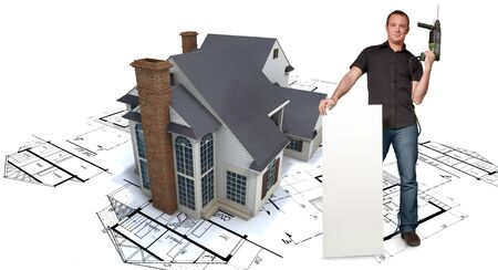 Man with holding a power drill with a house with blueprints on the background Stock Photo - 15691891