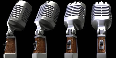 vintage microphone: Retro microphones in different positions