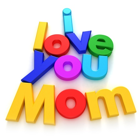 declaration of love:  I love you Mom written with colourful letter magnets on neutral background