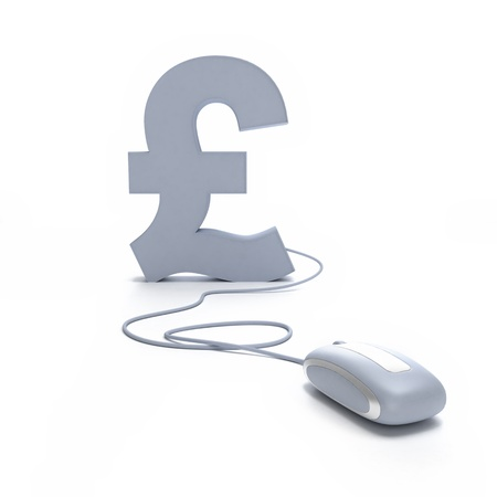 british pound:  3D rendering of a Pound symbol connected to a computer mouse  Stock Photo