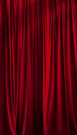 d cor: Red curtain ideal for backgrounds and textures Stock Photo