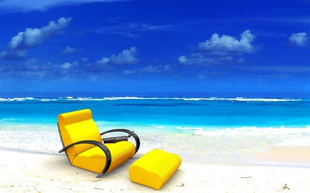 cosy:  Yellow relaxing sofa on a beautiful tropical beach  Stock Photo