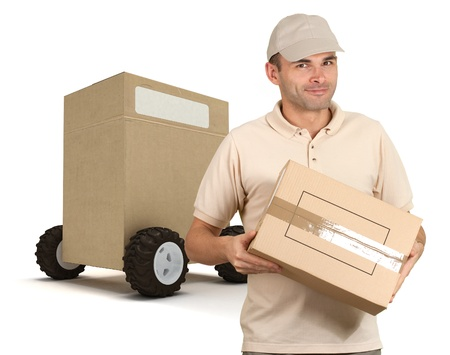 messenger:  Messenger delivering a parcel with a huge box on wheels on the background  Stock Photo