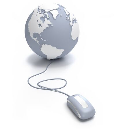 Gray and white Earth Globe oriented to the Atlantic connected with a computer mouse Stock Photo - 15623629