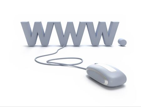 Internet symbol www connected to a mouse Stock Photo - 15623618