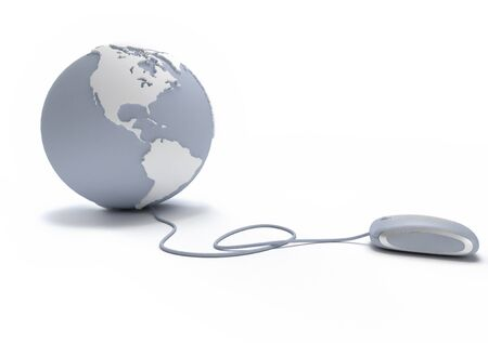 Gray and white Earth Globe oriented to America connected with a computer mouse Stock Photo - 15695252