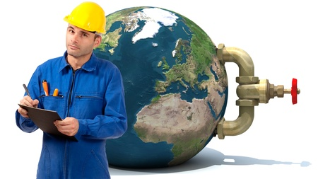 stopcock:   Image of a Plumber with the Earth with a stopcock attached to it