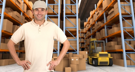 order shipment: male worker in a distribution warehouse