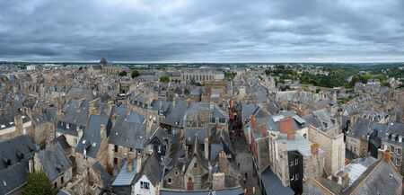 dinan:  Aerial view of Dinan medieval town in Brittany, France